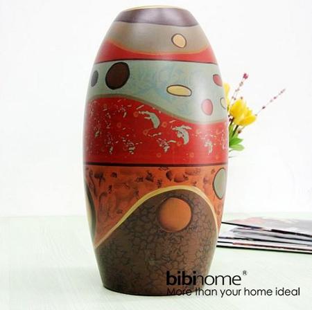 非洲风格陶土手绘花瓶