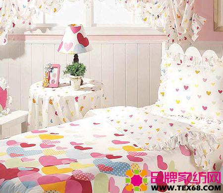 粉色儿童床品打造浪漫小公主卧室(4)
