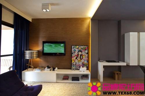 深蓝色窗帘,紫色沙发组成了客厅的两大色块,一幅巴西圣保罗风格的