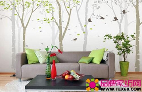 手绘沙发背景墙
