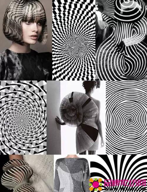 床品流行趋势四:黑白图腾 带有魔幻色彩的黑白旋转图案和渐接设计的