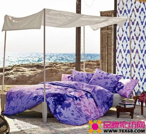 欧式卧室床紫蓝色