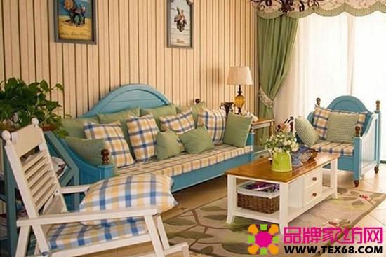 藍白色地中海客廳風格