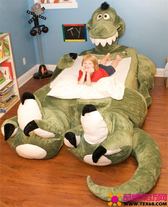 """让普通的儿童床""""变身""""成为长耳朵狗,大尾巴恐龙等卡通动物,从而为孩子"""