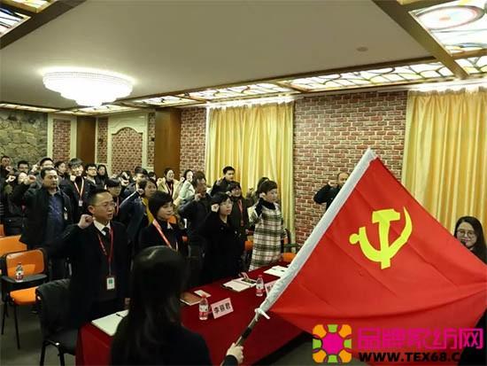 组长陈佳接过鲜红的党旗,宣誓上任