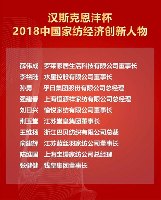 2018中国家纺经济创新人物名单