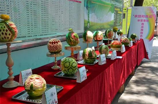 西瓜雕刻达人作品展览现场