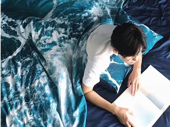 海浪图案的床上四件套